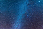 Milky way universe filled with stars, nebula and galaxy space dust long exposure.