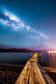 Night milkyway with wooden jetty at Te Anau, New ZealandNight milkyway with wooden jetty at Te Anau, New Zealand