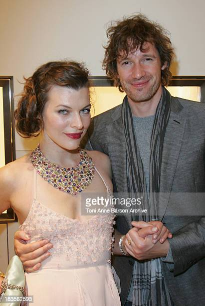 Milla Jovovich and her Fiance Paul Anderson attend the Bulgari store opening Party on Georges V Avenue on September 30 2008 in Paris France