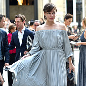 Milla Jovovich arrives at Valentino Fashion Show during Paris Fashion Week Haute Couture F/W 20162017 on July 6 2016 in Paris France
