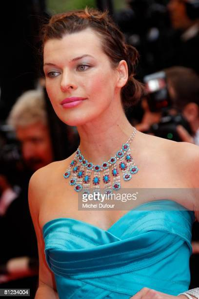 Milla Jovovich arrives for the Palme d'Or Closing Ceremony at the Palais des Festivals during the 61st International Cannes Film Festival on May 25...
