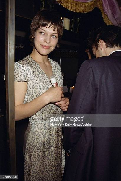 Milla Jovovich attending record party for Jennifer Lopez at Float