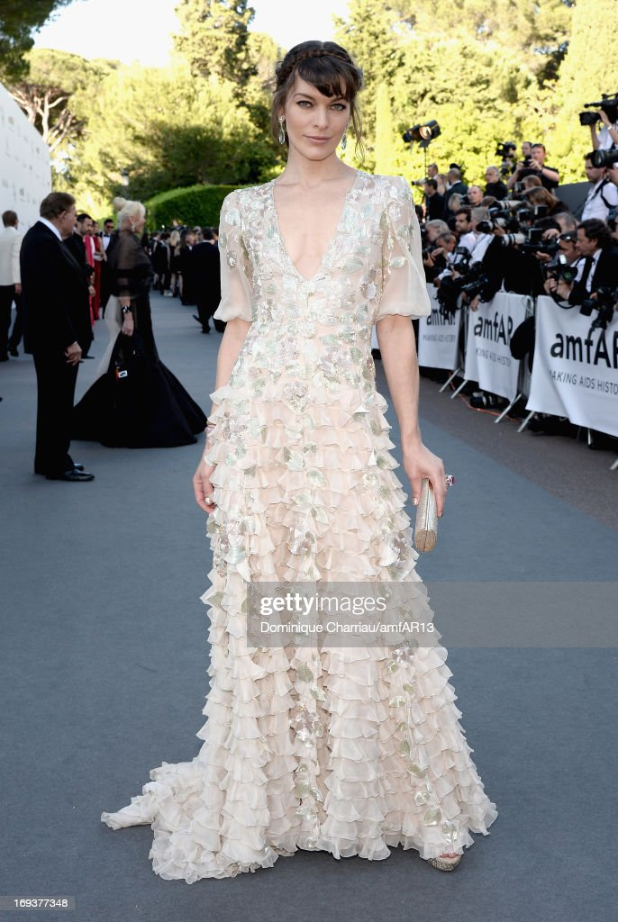 Milla Jovovich attends amfAR's 20th Annual Cinema Against AIDS during The 66th Annual Cannes Film Festival at Hotel du Cap-Eden-Roc on May 23, 2013 in Cap d'Antibes, France.