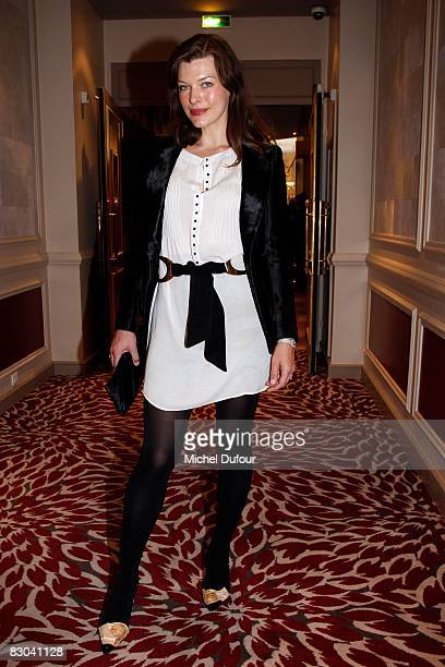 Milla Jovovich attends the Balmain PFW Spring Summer 2009 show at Paris Fashion Week 2008 at Hotel Westin on September 28 2008 in Paris France