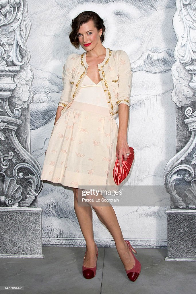 Milla Jovovich attends the Chanel HauteCouture show as part of Paris Fashion Week Fall / Winter 2012/13 at the Grand Palais on July 3 2012 in Paris...