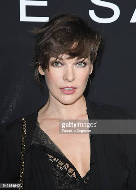 Milla Jovovich attends the Elie Saab Haute Couture Fall/Winter 20162017 show as part of Paris Fashion Week on July 6 2016 in Paris France
