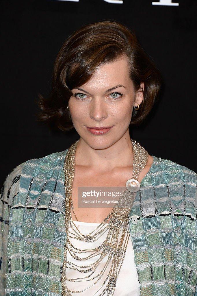 Milla Jovovich attends the Giorgio Armani Prive show as part of Paris Fashion Week HauteCouture Fall/Winter 20132014 at Theatre National de Chaillot...