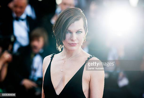 Milla Jovovich attends the screening of 'The Last Face' at the annual 69th Cannes Film Festival at Palais des Festivals on May 20 2016 in Cannes...