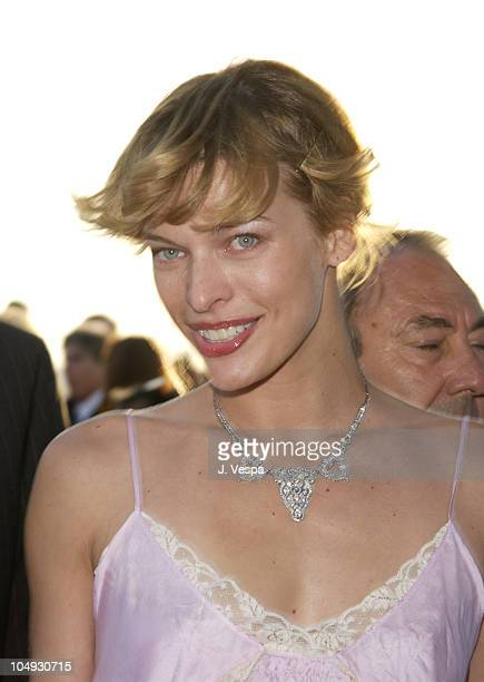 Milla Jovovich during Cannes 2002 'Gangs of New York' Party at Baoli in Cannes France