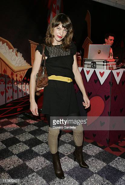 Milla Jovovich during Disney's Alice in Wonderland Mad Tea Party at Private Residence in Los Angeles California United States