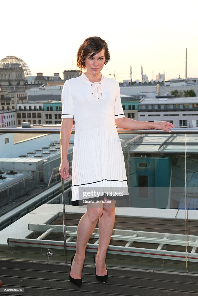 <a gi-track='captionPersonalityLinkClicked' href=/galleries/search?phrase=Milla+Jovovich&family=editorial&specificpeople=202207 ng-click='$event.stopPropagation()'>Milla Jovovich</a> during the after party of the Marc Cain fashion show spring/summer 2017 at China Club on June 28, 2016 in Berlin, Germany.