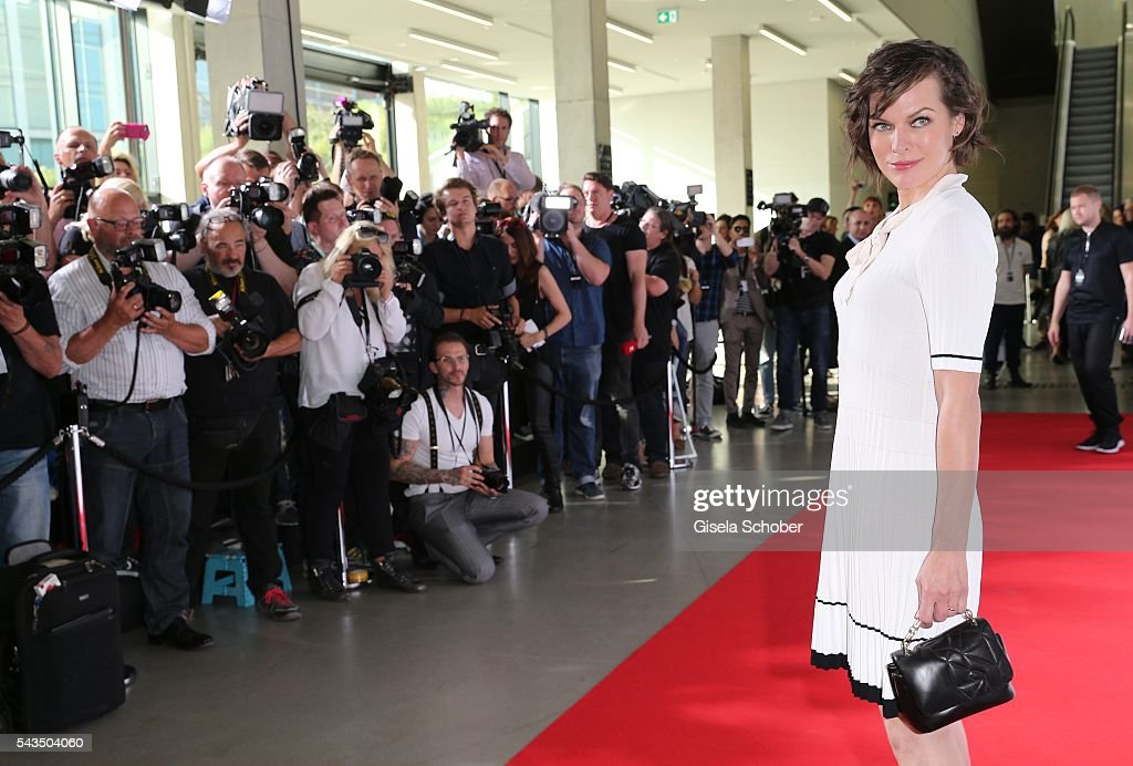 Milla Jovovich during the Marc Cain fashion show spring/summer 2017 at CITY CUBE Panorama Bar on June 28, 2016 in Berlin, Germany.