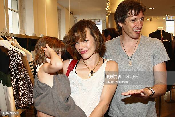 Milla Jovovich her husband Paul WS Anderson and their daughter Ever Gabo attend the Repossi Collection Presentation Cocktail as part of Haute Couture...