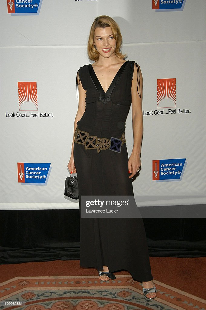 Milla Jovovich in a dress by Prada during American Cancer Society's Dreamball at The Waldorf=Astoria in New York City New York United States