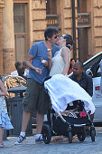Milla Jovovich is seen in Rome with husband Paul W S Anderson and 3 months old daughter Dashiel Edon on June 18 2015 in Rome Italy