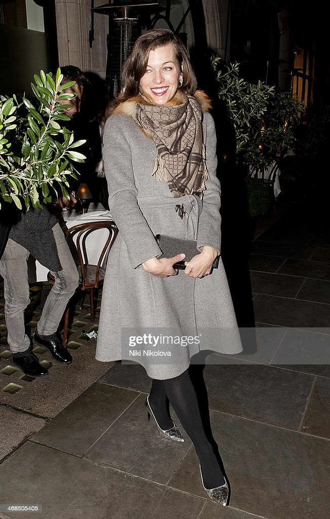 Milla Jovovich is seen leaving Scotts restaurant Mayfair on February 10 2014 in London England