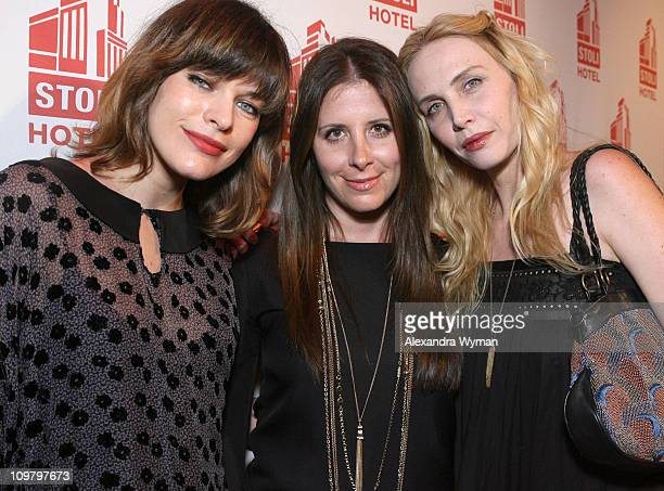Milla Jovovich Jen Egan and Carmen Hawk during Gen Art Presents An Evening of Fashion at the Stoli Hotel at The Stoli Hotel at Ivar Studio in...