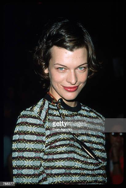 Milla Jovovich poses September 17 1999 during the Vivienne Westwood Fashion Show in New York City British fashion designer Westwood presents her...