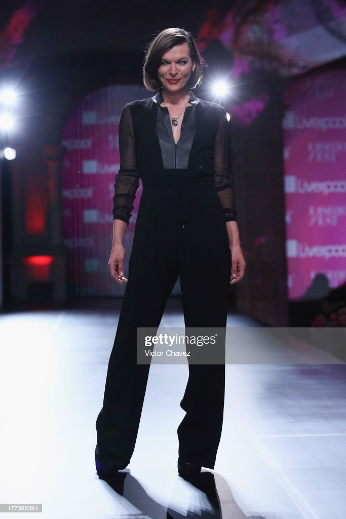 <a gi-track='captionPersonalityLinkClicked' href=/galleries/search?phrase=Milla+Jovovich&family=editorial&specificpeople=202207 ng-click='$event.stopPropagation()'>Milla Jovovich</a> walks the runway during Liverpool Fashion Fest Autumn/Winter 2013 at Club De Banqueros on August 22, 2013 in Mexico City, Mexico.