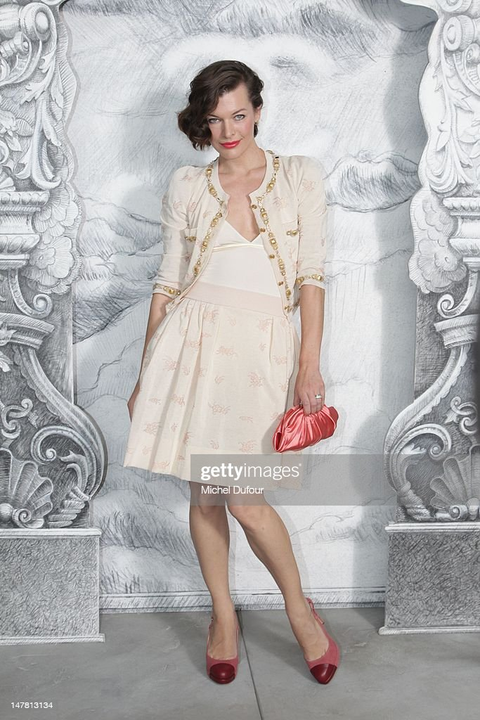 Milla Jovovitch attends the Chanel Haute-Couture Show as part of Paris Fashion Week Fall / Winter 2013 at Grand Palais on July 3, 2012 in Paris, France.