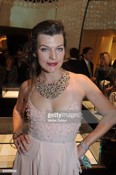 Milla Jovovitch attends the opening of the new Bulgari Jewelry store on September 30 2008 in Paris France