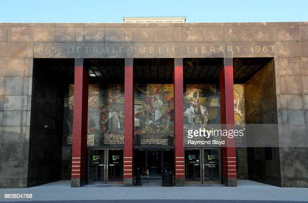 Millard Sheets' 'The River Of Knowledge' mosaic mural above the Cass Avenue entrance to the Detroit Public Library in Detroit Michigan on October 13...