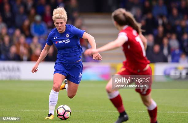 mille Bright of Chelsea during a WSL match between Chelsea Ladies and Liverpool Ladies at The Cherry Red Records Stadium on October 7 2017 in...