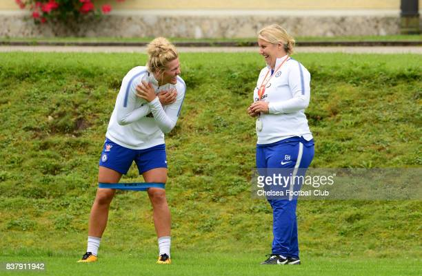 Mille Bright of Chelsea talking with Manager Emma Hayes during a training session on August 23 2017 in Schladming Austria