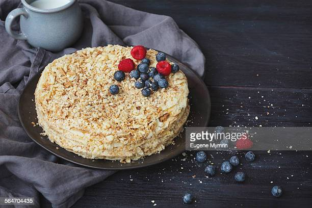 Mille-feuille (Napoleon cake) with berries