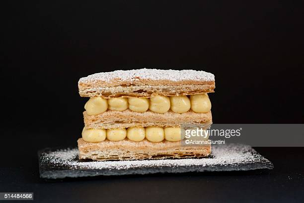 millefeuille with cream pastry and powder sugar