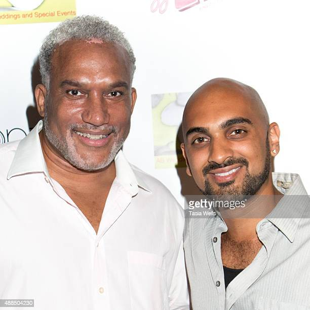 Millennia Scope Entertainment Foundation CEO Shahid Manning and actor MArio Batres pose for portrait at Premiere Party For 'Liv Out Loud' at Akbar on...