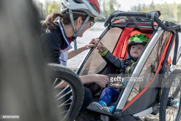 Millennial Parents Mother Biking with Toddler