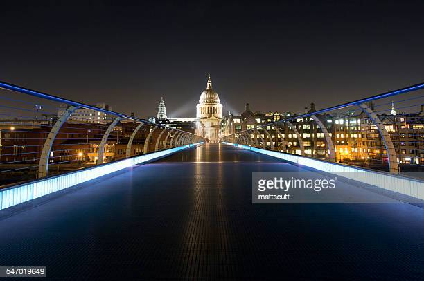 Millennium Bridge and St Pauls Cathedral at night, London, UK