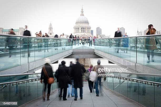Millennium Bridge and St Paul's London People Walking