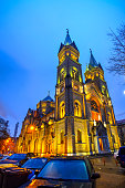 A Neo-Romanesque style, Catholic Church, called Millennium seen at the blue hour in Timisoara, Timis County, Romania.