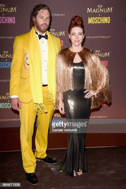 T J Miller and Kate Gorney attend Magnum party during the 70th annual Cannes Film Festival at Magnum Beach on May 18 2017 in Cannes France