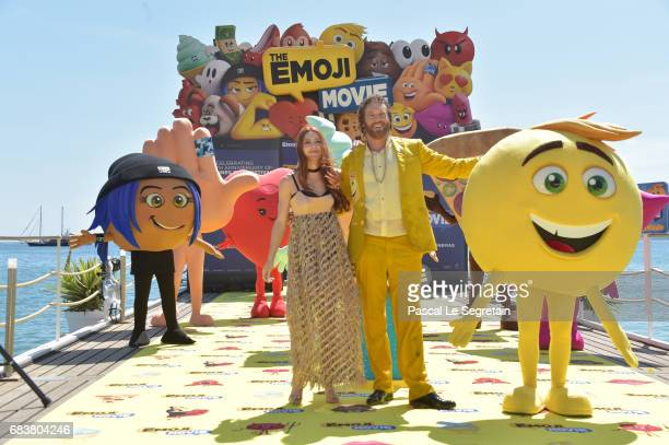Miller and Kate Gorney attend 'The Emoji Movie' photo call at the start of the 70th Cannes Film Festival at The Carlton Pier on May 16 2017 in Cannes...