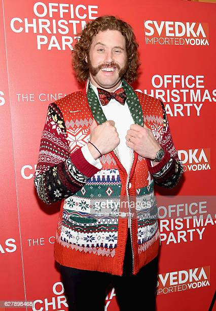 T J Miller attends the Paramount Pictures with The Cinema Society Svedka host a screening of 'Office Christmas Party' at Landmark Sunshine Cinema on...
