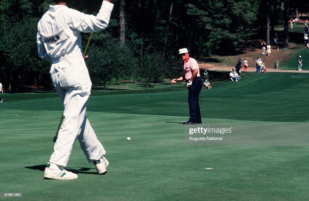 Miller Barber watches his putt during the 1979 Masters Tournament at Augusta National Golf Club on April 14th, 1979 in Augusta, Georgia.