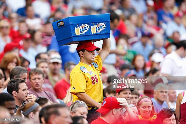 Miller Lite beer vendor walks through the stands during the game against the Washington Nationals at Citizens Bank Park on July 11 2013 in...