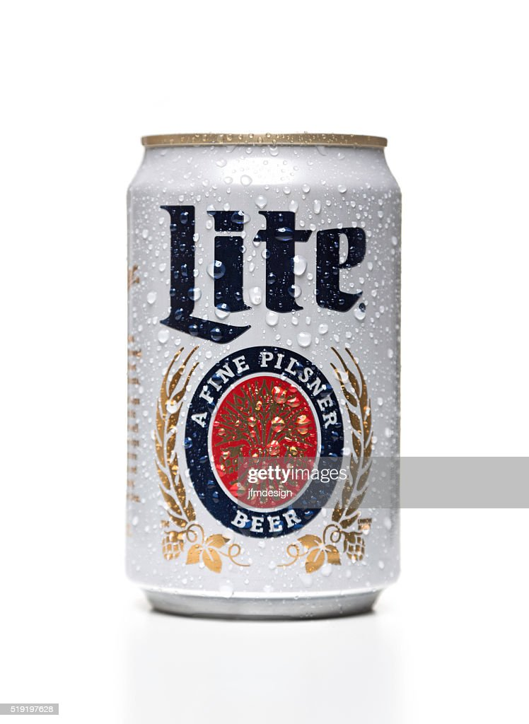 Miller Lite can with water drops : Stock Photo