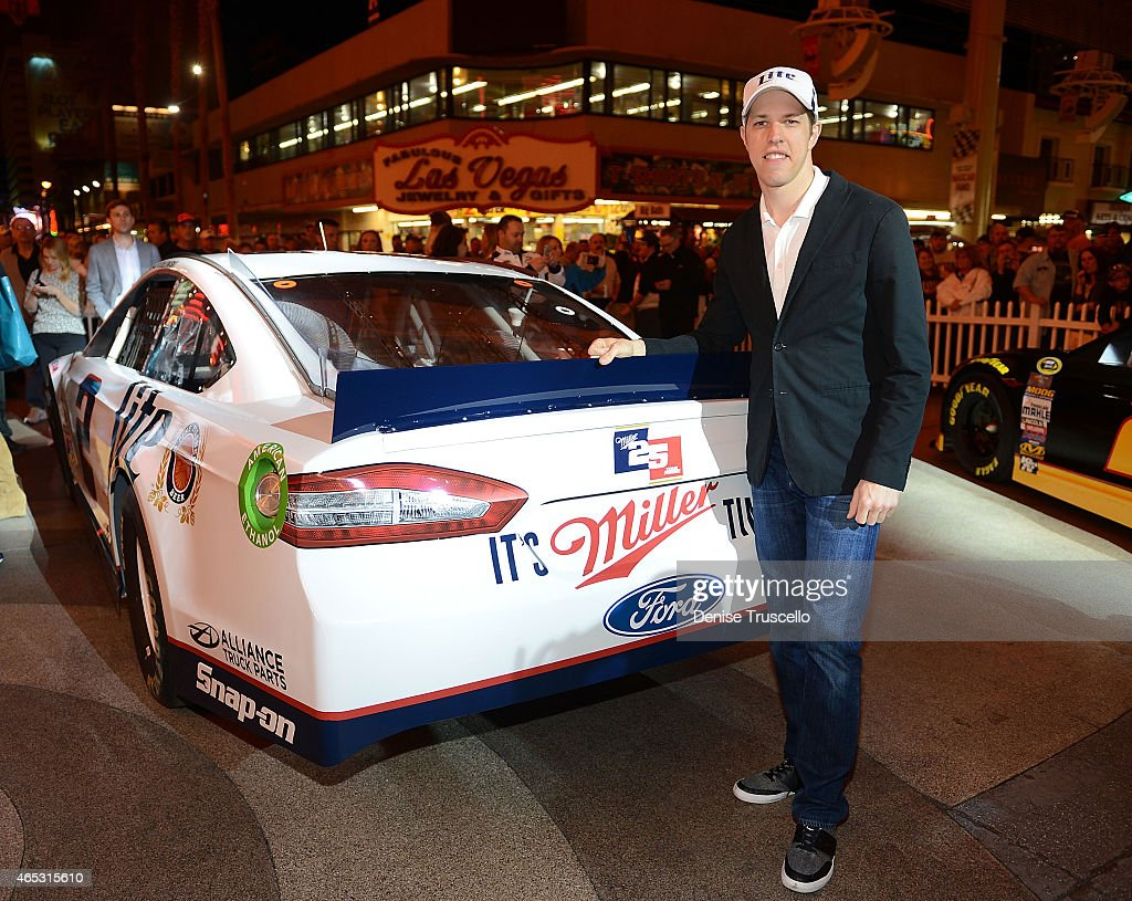 Miller Lite NASCAR driver <a gi-track='captionPersonalityLinkClicked' href=/galleries/search?phrase=Brad+Keselowski&family=editorial&specificpeople=890258 ng-click='$event.stopPropagation()'>Brad Keselowski</a> poses with his No. 2 Ford to celebrate the 25th Anniversary of the sponsorship between Miller Lite and Team Penske from The D Casino on March 5, 2015 in Las Vegas, Nevada.