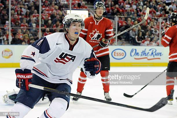 Miller of Team USA skates during the 2012 World Junior Hockey Championship game against Team Canada at Rexall Place on December 31 2011 in Edmonton...
