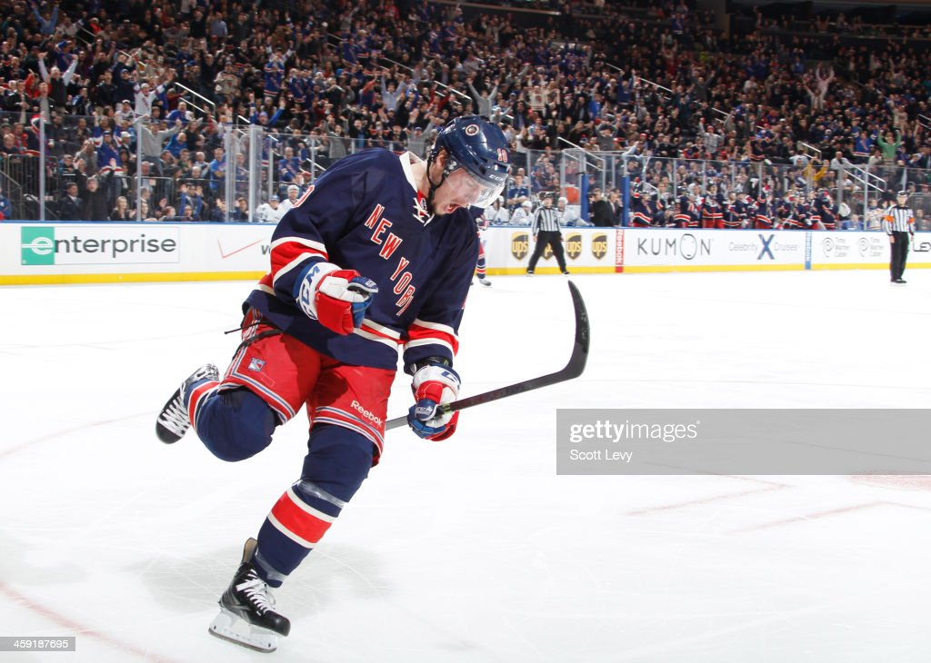 T Miller of the New York Rangers celebrates after his third period goal against the against the Toronto Maple Leafs at Madison Square Garden on...