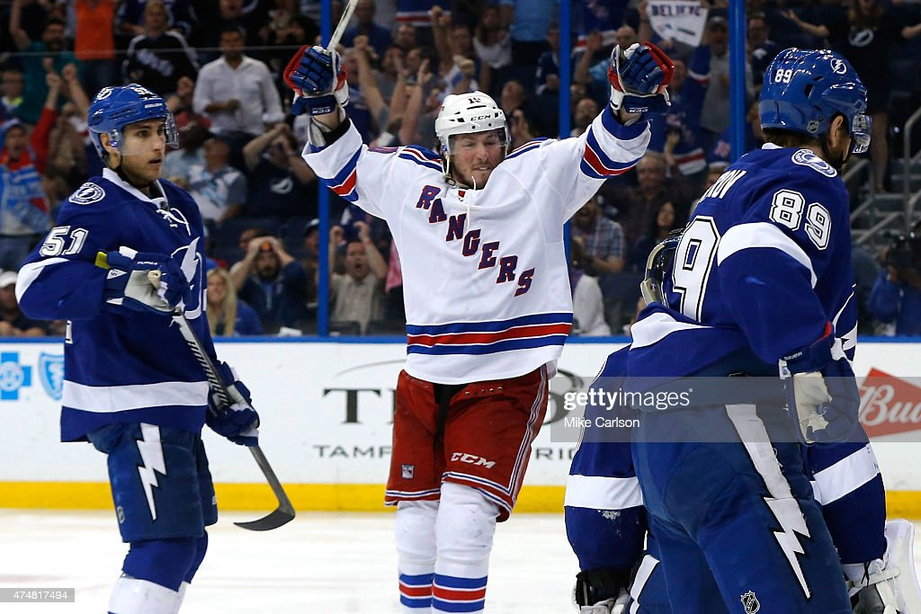 T Miller of the New York Rangers celebrates after scoring a goal against Ben Bishop of the Tampa Bay Lightning during the third period in Game Six of...