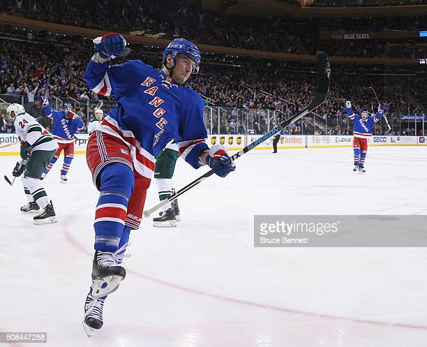 T Miller of the New York Rangers celebrates his goal at 435 of the second period against the Minnesota Wild at Madison Square Garden on February 4...