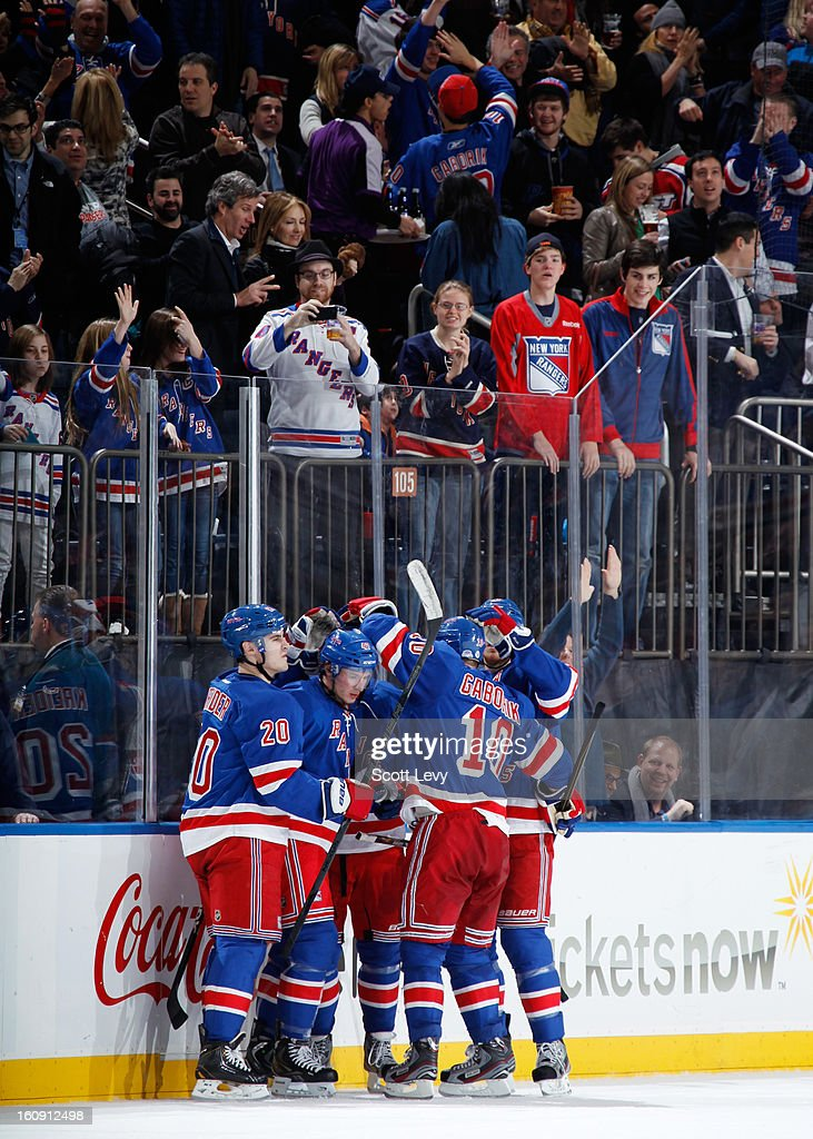 J.T. Miller #47 of the New York Rangers celebrates his second goal of the game against the New York Islanders at Madison Square Garden on February 7, 2013 in New York City.