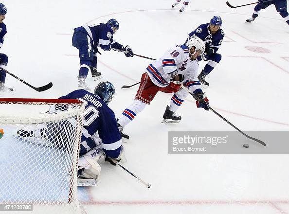 T Miller of the New York Rangers controls the puck against the Tampa Bay Lightning in Game Three of the Eastern Conference Finals during the 2015 NHL...
