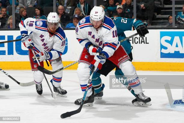 T Miller of the New York Rangers handles the puck during a NHL game against the San Jose Sharks at SAP Center at San Jose on March 28 2017 in San...