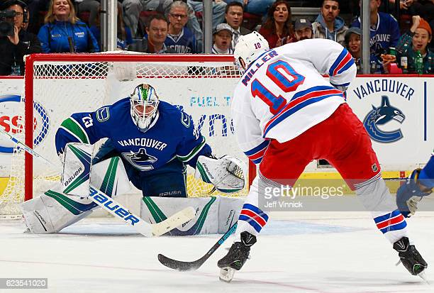 T Miller of the New York Rangers on a breakaway is stopped by Jacob Markstrom of the Vancouver Canucks during their NHL game at Rogers Arena November...